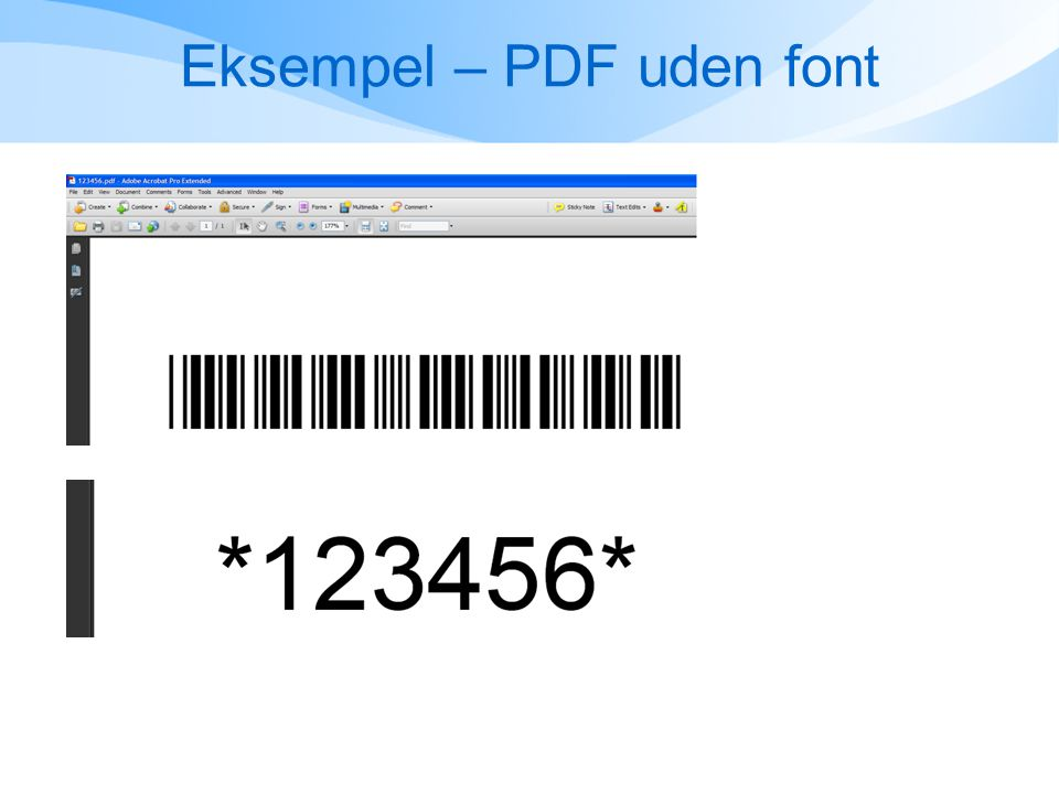 Eksempel – PDF uden font