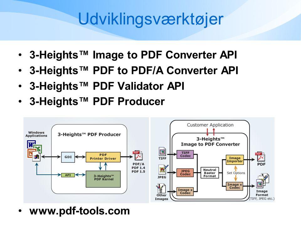Udviklingsværktøjer •3-Heights™ Image to PDF Converter API •3-Heights™ PDF to PDF/A Converter API •3-Heights™ PDF Validator API •3-Heights™ PDF Producer •www.pdf-tools.com