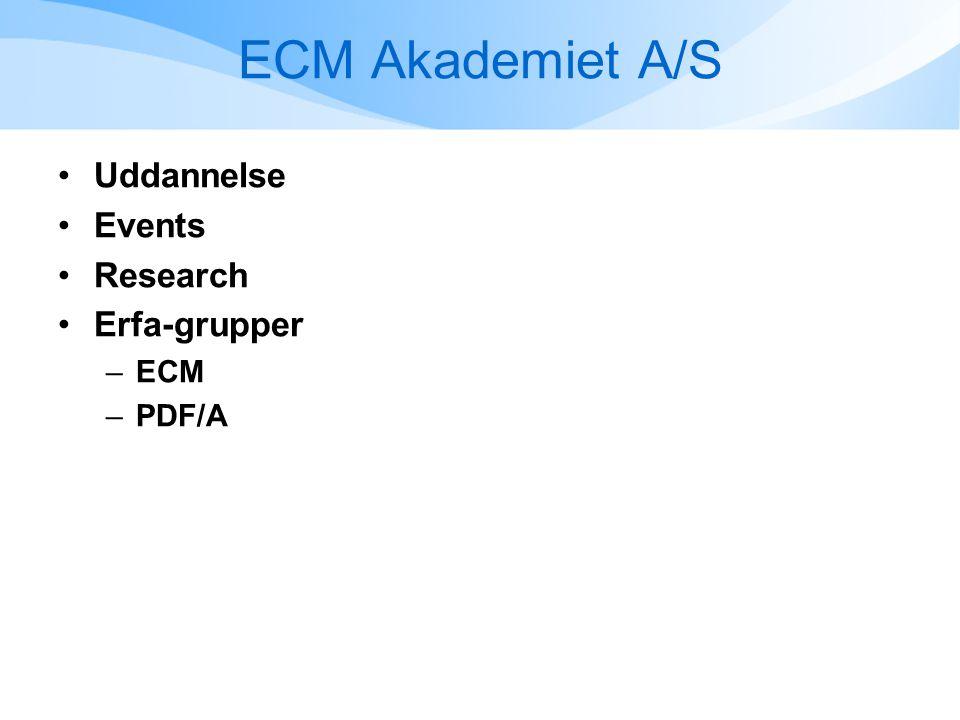 ECM Akademiet A/S •Uddannelse •Events •Research •Erfa-grupper –ECM –PDF/A