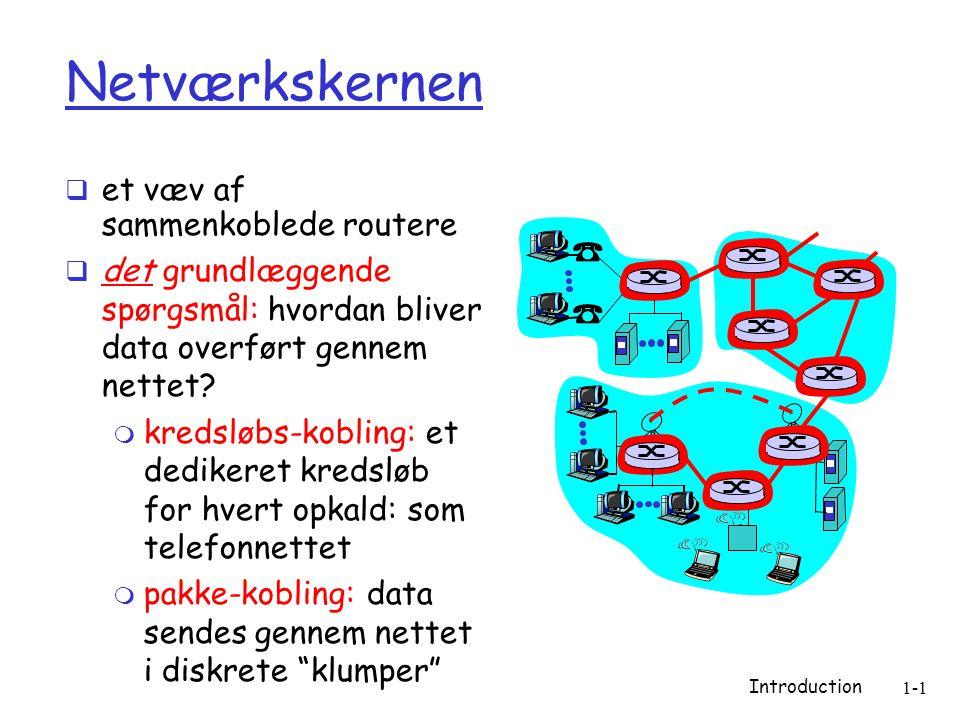Introduction 1-1 Netværkskernen  et væv af sammenkoblede routere  det grundlæggende spørgsmål: hvordan bliver data overført gennem nettet.