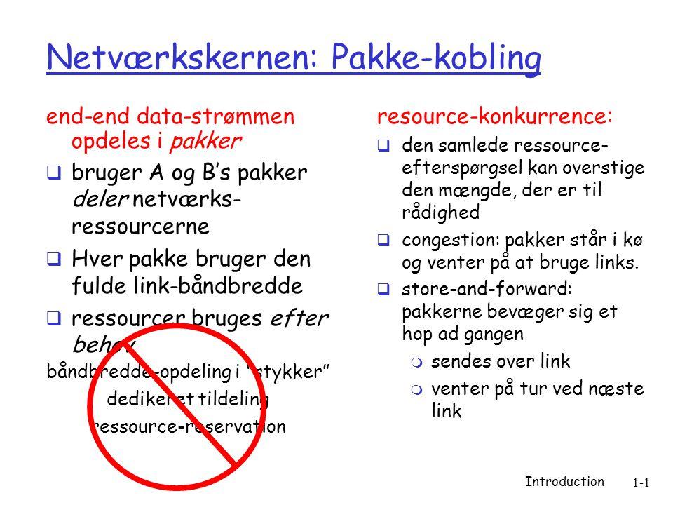 Introduction 1-1 Netværkskernen: Pakke-kobling end-end data-strømmen opdeles i pakker  bruger A og B's pakker deler netværks- ressourcerne  Hver pakke bruger den fulde link-båndbredde  ressourcer bruges efter behov resource-konkurrence:  den samlede ressource- efterspørgsel kan overstige den mængde, der er til rådighed  congestion: pakker står i kø og venter på at bruge links.