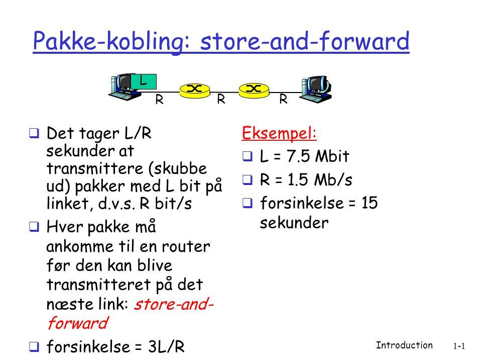 Introduction 1-1 Pakke-kobling: store-and-forward  Det tager L/R sekunder at transmittere (skubbe ud) pakker med L bit på linket, d.v.s.