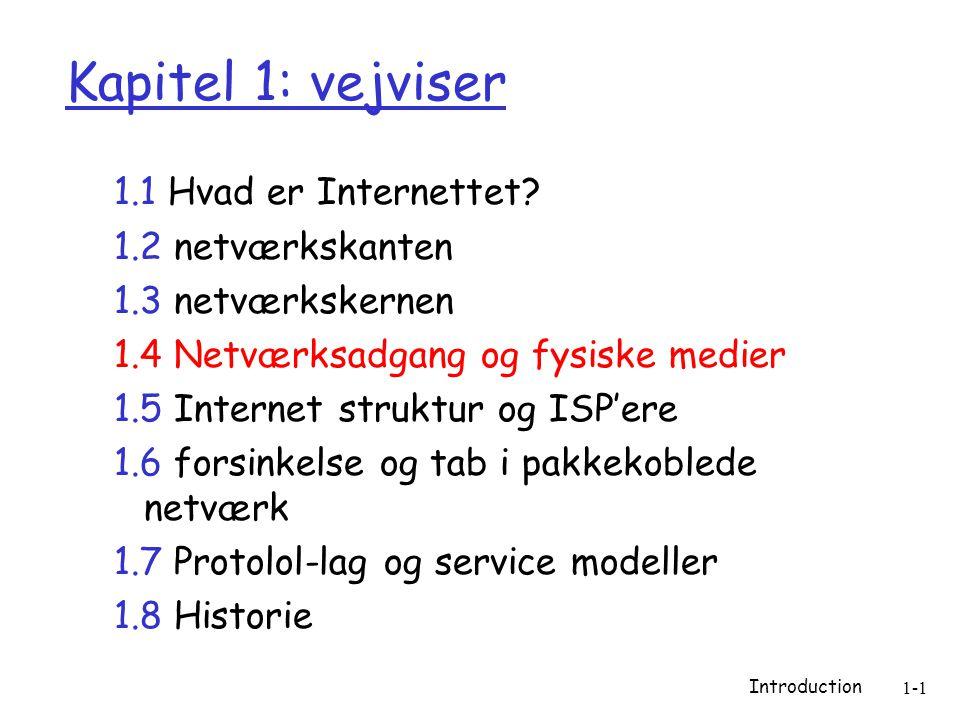 Introduction 1-1 Kapitel 1: vejviser 1.1 Hvad er Internettet.