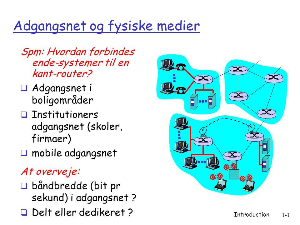 Introduction 1-1 Adgangsnet og fysiske medier Spm: Hvordan forbindes ende-systemer til en kant-router.