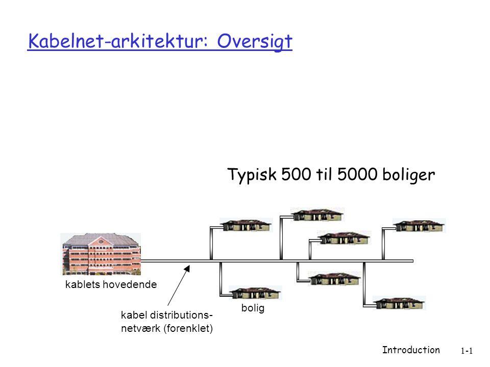 Introduction 1-1 Kabelnet-arkitektur: Oversigt bolig kablets hovedende kabel distributions- netværk (forenklet) Typisk 500 til 5000 boliger