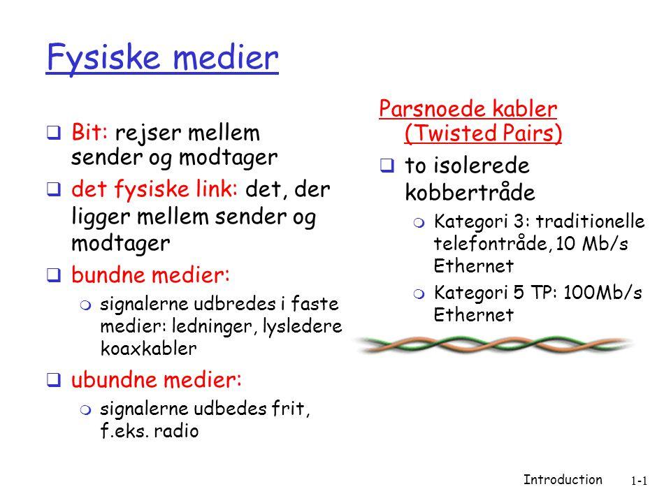 Introduction 1-1 Fysiske medier  Bit: rejser mellem sender og modtager  det fysiske link: det, der ligger mellem sender og modtager  bundne medier:  signalerne udbredes i faste medier: ledninger, lysledere, koaxkabler  ubundne medier:  signalerne udbedes frit, f.eks.