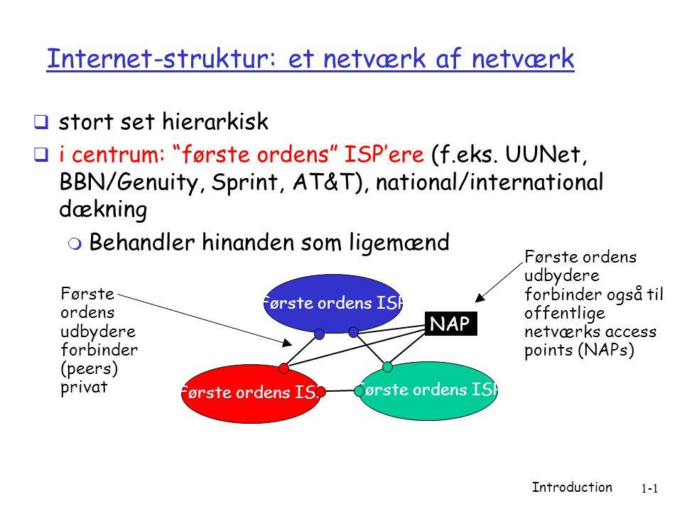 Introduction 1-1 Internet-struktur: et netværk af netværk  stort set hierarkisk  i centrum: første ordens ISP'ere (f.eks.