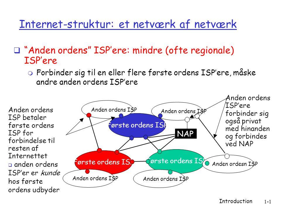 Introduction 1-1 Internet-struktur: et netværk af netværk  Anden ordens ISP'ere: mindre (ofte regionale) ISP'ere  Forbinder sig til en eller flere første ordens ISP'ere, måske andre anden ordens ISP'ere Første ordens ISP NAP Anden ordens ISP Anden ordesn ISP Anden ordens ISP betaler første ordens ISP for forbindelse til resten af Internettet  anden ordens ISP'er er kunde hos første ordens udbyder Anden ordens ISP'ere forbinder sig også privat med hinanden og forbindes ved NAP