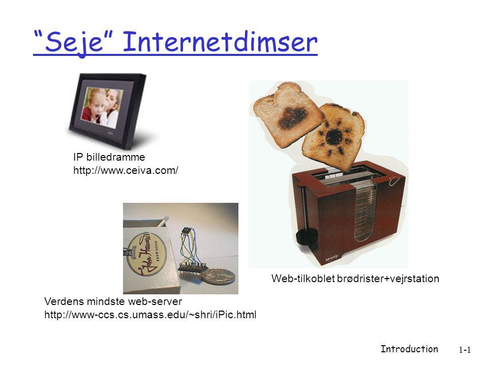Introduction 1-1 Seje Internetdimser Verdens mindste web-server http://www-ccs.cs.umass.edu/~shri/iPic.html IP billedramme http://www.ceiva.com/ Web-tilkoblet brødrister+vejrstation