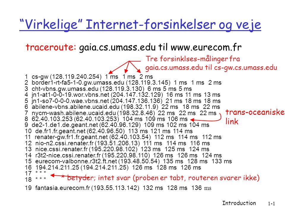 Introduction 1-1 Virkelige Internet-forsinkelser og veje 1 cs-gw (128.119.240.254) 1 ms 1 ms 2 ms 2 border1-rt-fa5-1-0.gw.umass.edu (128.119.3.145) 1 ms 1 ms 2 ms 3 cht-vbns.gw.umass.edu (128.119.3.130) 6 ms 5 ms 5 ms 4 jn1-at1-0-0-19.wor.vbns.net (204.147.132.129) 16 ms 11 ms 13 ms 5 jn1-so7-0-0-0.wae.vbns.net (204.147.136.136) 21 ms 18 ms 18 ms 6 abilene-vbns.abilene.ucaid.edu (198.32.11.9) 22 ms 18 ms 22 ms 7 nycm-wash.abilene.ucaid.edu (198.32.8.46) 22 ms 22 ms 22 ms 8 62.40.103.253 (62.40.103.253) 104 ms 109 ms 106 ms 9 de2-1.de1.de.geant.net (62.40.96.129) 109 ms 102 ms 104 ms 10 de.fr1.fr.geant.net (62.40.96.50) 113 ms 121 ms 114 ms 11 renater-gw.fr1.fr.geant.net (62.40.103.54) 112 ms 114 ms 112 ms 12 nio-n2.cssi.renater.fr (193.51.206.13) 111 ms 114 ms 116 ms 13 nice.cssi.renater.fr (195.220.98.102) 123 ms 125 ms 124 ms 14 r3t2-nice.cssi.renater.fr (195.220.98.110) 126 ms 126 ms 124 ms 15 eurecom-valbonne.r3t2.ft.net (193.48.50.54) 135 ms 128 ms 133 ms 16 194.214.211.25 (194.214.211.25) 126 ms 128 ms 126 ms 17 * * * 18 * * * 19 fantasia.eurecom.fr (193.55.113.142) 132 ms 128 ms 136 ms traceroute: gaia.cs.umass.edu til www.eurecom.fr Tre forsinklses-målinger fra gaia.cs.umass.edu til cs-gw.cs.umass.edu * betyder; intet svar (proben er tabt, routeren svarer ikke) trans-oceaniske link