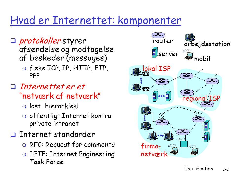 Introduction 1-1 Hvad er Internettet: komponenter  protokoller styrer afsendelse og modtagelse af beskeder (messages)  f.eks TCP, IP, HTTP, FTP, PPP  Internettet er et netværk af netværk  løst hierarkiskl  offentligt Internet kontra private intranet  Internet standarder  RFC: Request for comments  IETF: Internet Engineering Task Force lokal ISP firma- netværk regional ISP router arbejdsstation server mobil