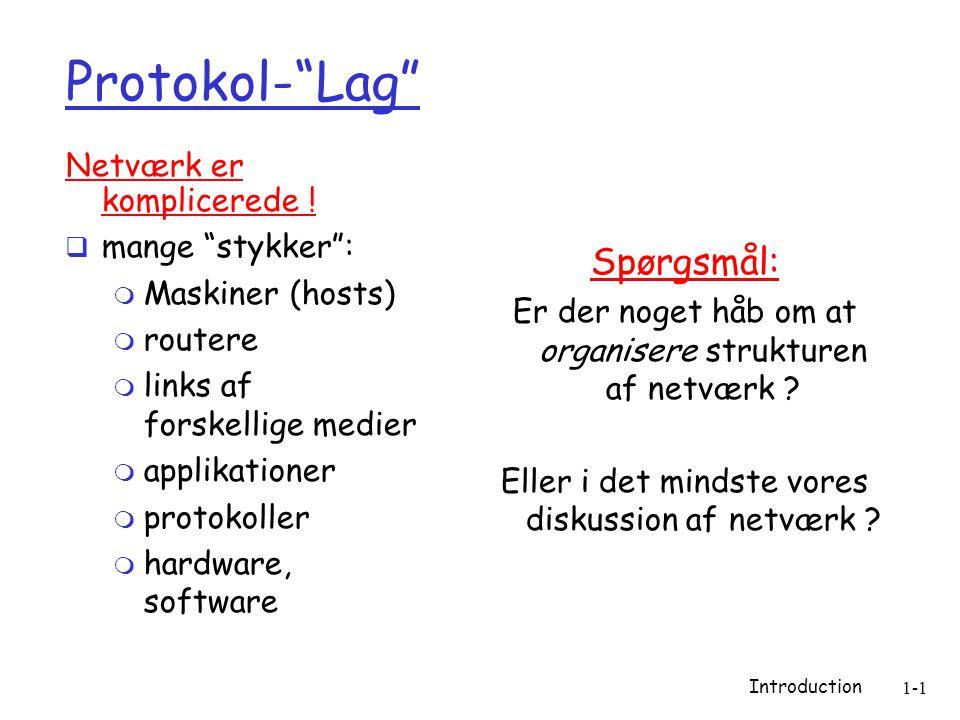 Introduction 1-1 Protokol- Lag Netværk er komplicerede .