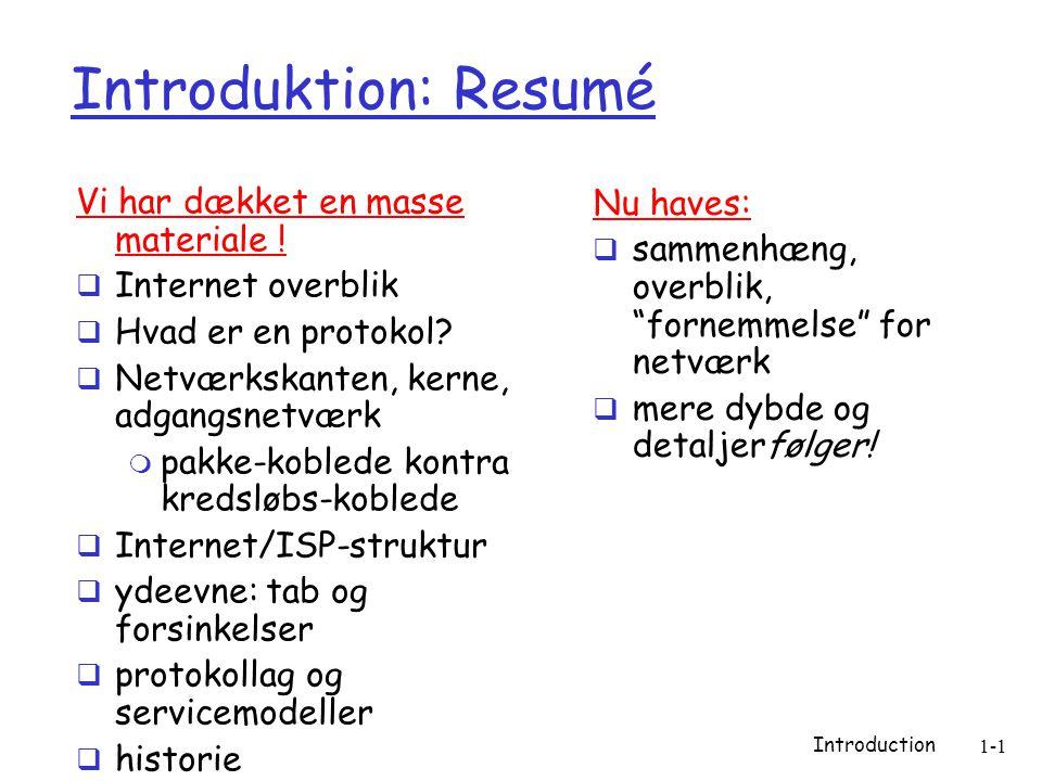 Introduction 1-1 Introduktion: Resumé Vi har dækket en masse materiale .