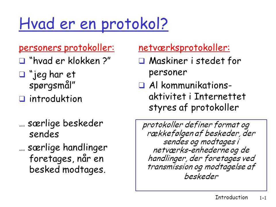 Introduction 1-1 Hvad er en protokol.