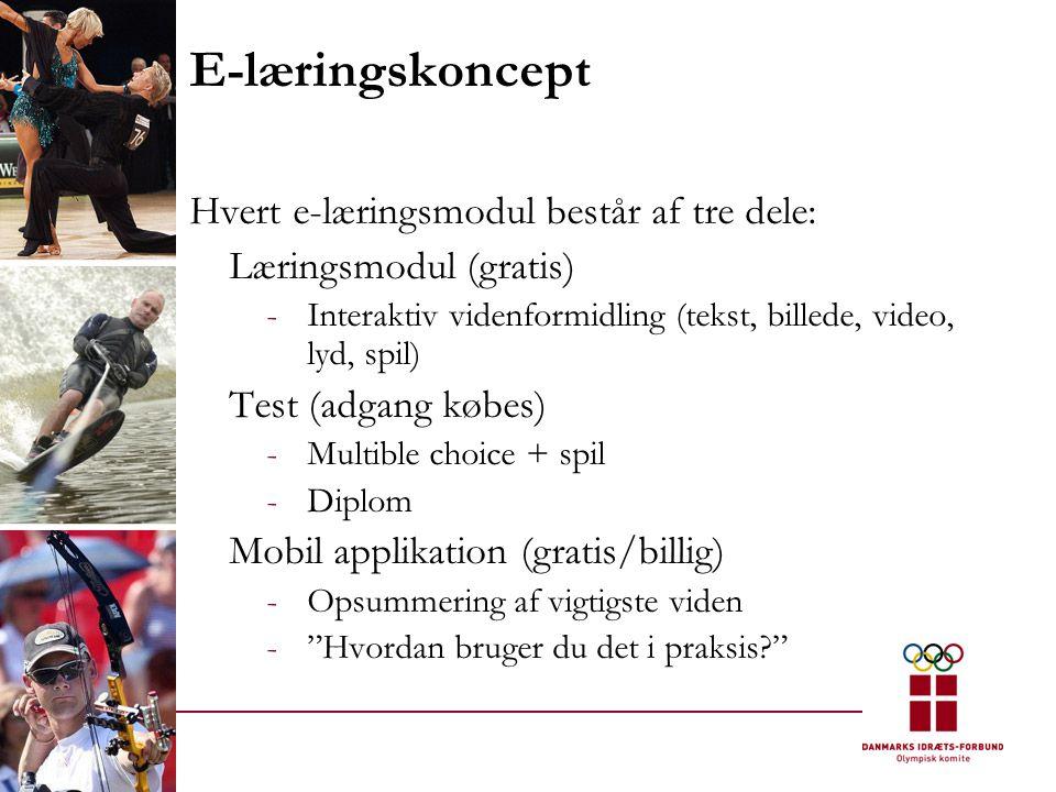 E-læringskoncept Hvert e-læringsmodul består af tre dele: Læringsmodul (gratis) -Interaktiv videnformidling (tekst, billede, video, lyd, spil) Test (adgang købes) -Multible choice + spil -Diplom Mobil applikation (gratis/billig) -Opsummering af vigtigste viden - Hvordan bruger du det i praksis