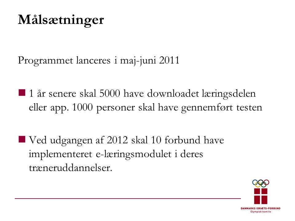 Målsætninger Programmet lanceres i maj-juni 2011  1 år senere skal 5000 have downloadet læringsdelen eller app.