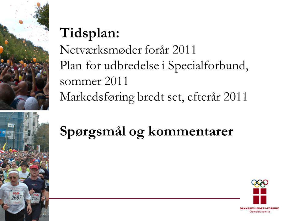 Tidsplan: Netværksmøder forår 2011 Plan for udbredelse i Specialforbund, sommer 2011 Markedsføring bredt set, efterår 2011 Spørgsmål og kommentarer