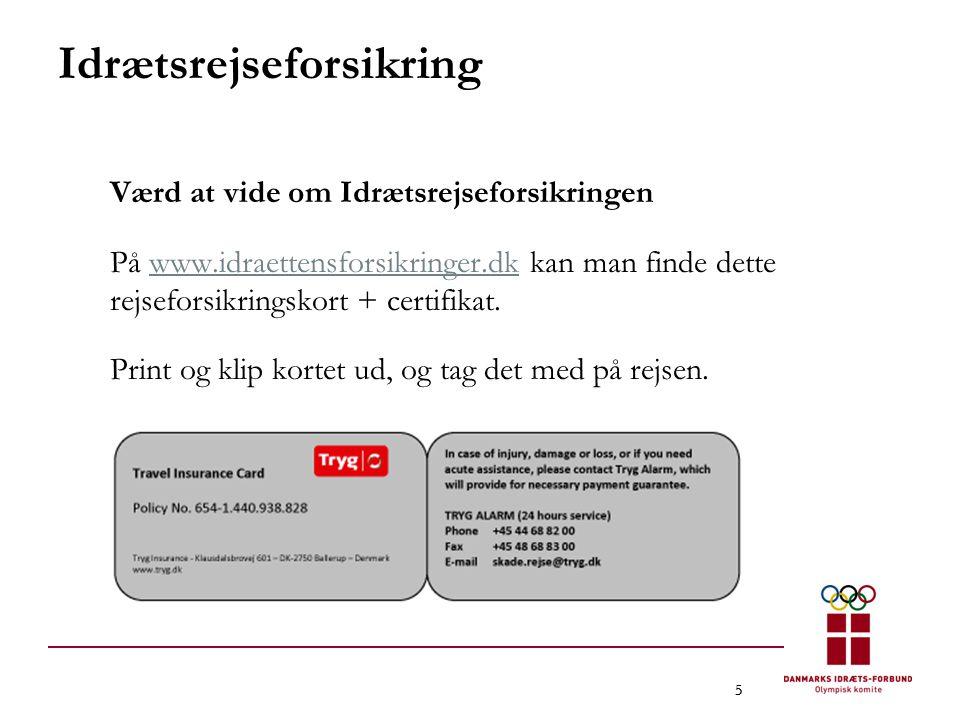 555 Idrætsrejseforsikring Værd at vide om Idrætsrejseforsikringen På www.idraettensforsikringer.dk kan man finde dette rejseforsikringskort + certifikat.www.idraettensforsikringer.dk Print og klip kortet ud, og tag det med på rejsen.