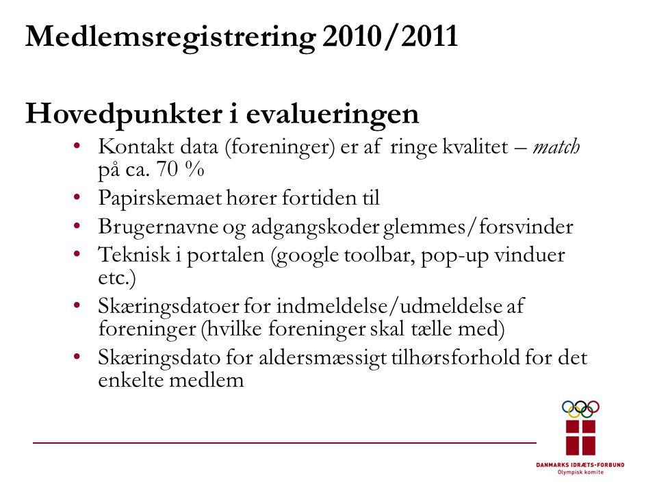 Medlemsregistrering 2010/2011 Hovedpunkter i evalueringen •Kontakt data (foreninger) er af ringe kvalitet – match på ca.