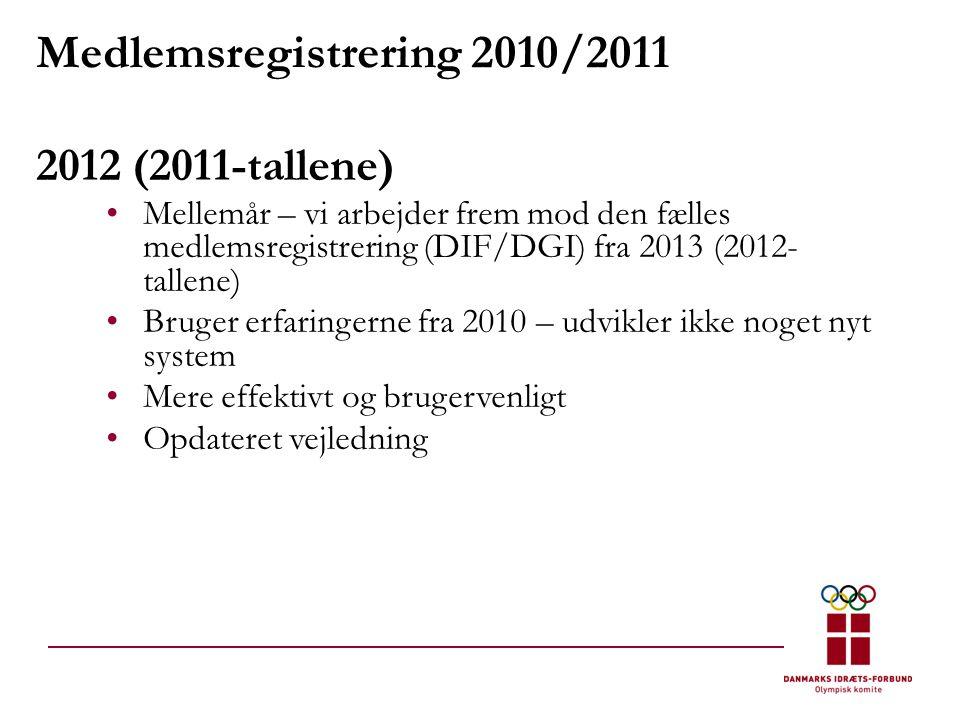 Medlemsregistrering 2010/2011 2012 (2011-tallene) •Mellemår – vi arbejder frem mod den fælles medlemsregistrering (DIF/DGI) fra 2013 (2012- tallene) •Bruger erfaringerne fra 2010 – udvikler ikke noget nyt system •Mere effektivt og brugervenligt •Opdateret vejledning