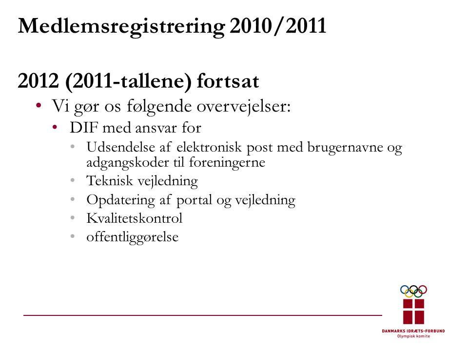 Medlemsregistrering 2010/2011 2012 (2011-tallene) fortsat •Vi gør os følgende overvejelser: •DIF med ansvar for •Udsendelse af elektronisk post med brugernavne og adgangskoder til foreningerne •Teknisk vejledning •Opdatering af portal og vejledning •Kvalitetskontrol •offentliggørelse