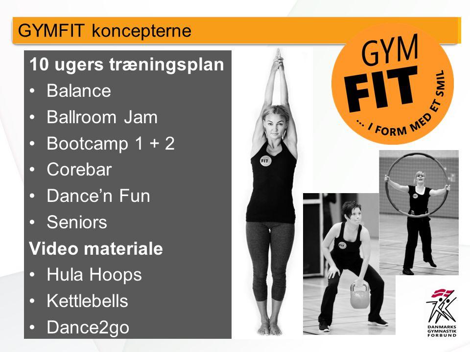 10 ugers træningsplan •Balance •Ballroom Jam •Bootcamp 1 + 2 •Corebar •Dance'n Fun •Seniors Video materiale •Hula Hoops •Kettlebells •Dance2go GYMFIT koncepterne