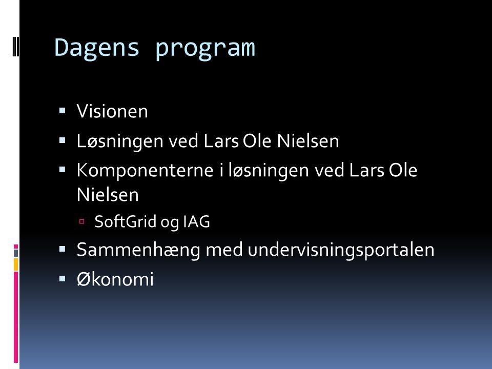 Dagens program  Visionen  Løsningen ved Lars Ole Nielsen  Komponenterne i løsningen ved Lars Ole Nielsen  SoftGrid og IAG  Sammenhæng med undervisningsportalen  Økonomi