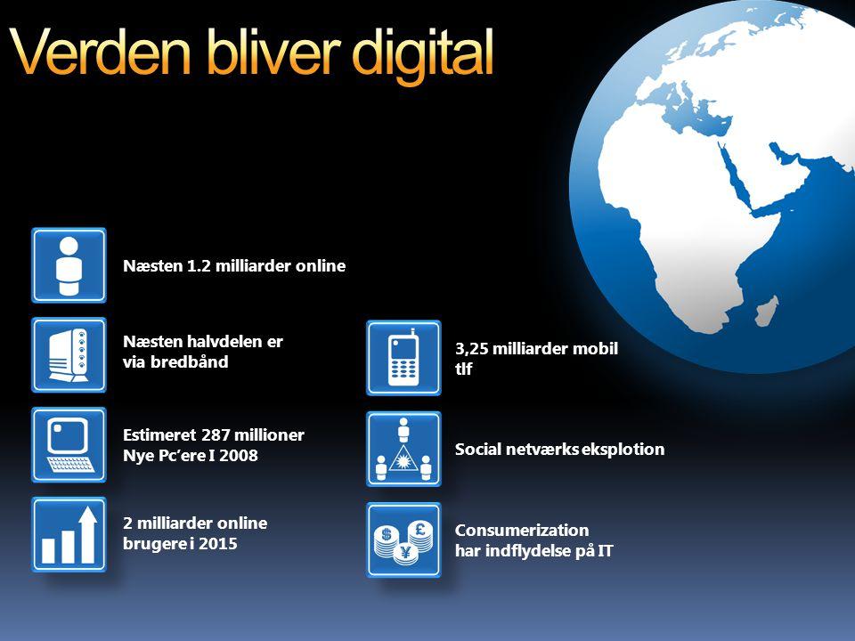 Næsten 1.2 milliarder online Næsten halvdelen er via bredbånd Estimeret 287 millioner Nye Pc'ere I 2008 2 milliarder online brugere i 2015 3,25 milliarder mobil tlf Social netværks eksplotion Consumerization har indflydelse på IT