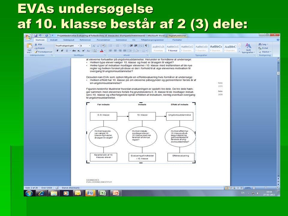 EVAs undersøgelse af 10. klasse består af 2 (3) dele: