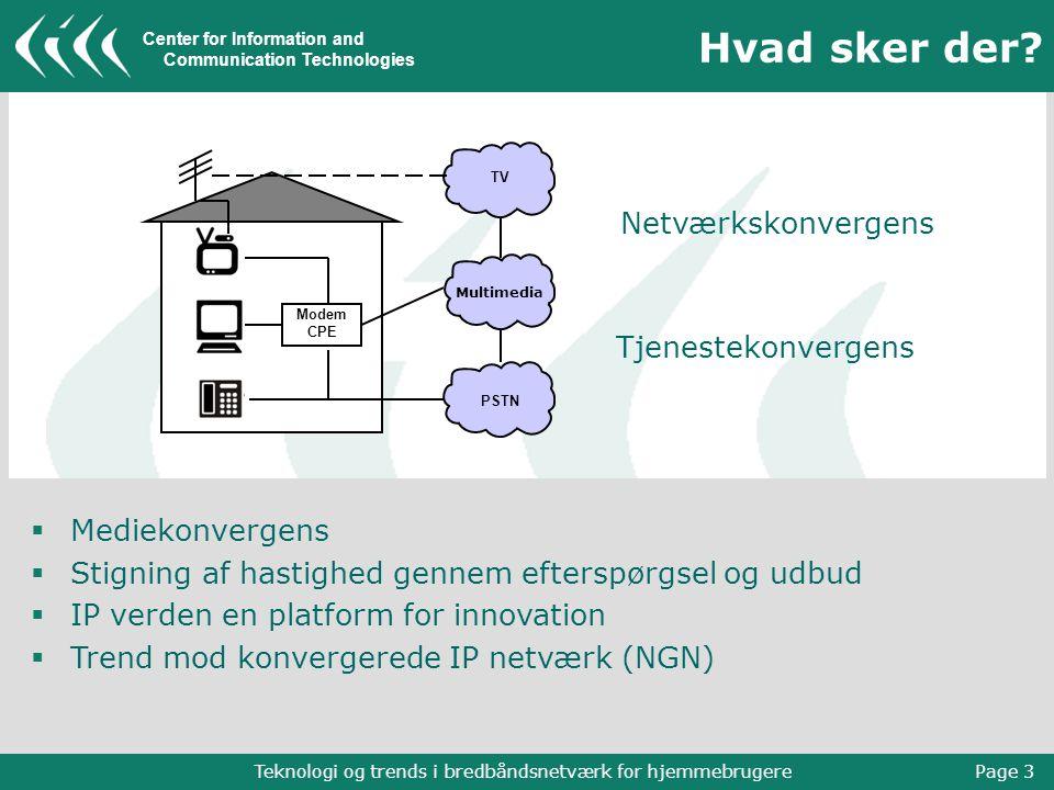 Center for Information and Communication Technologies Teknologi og trends i bredbåndsnetværk for hjemmebrugere Page 3 Hvad sker der.