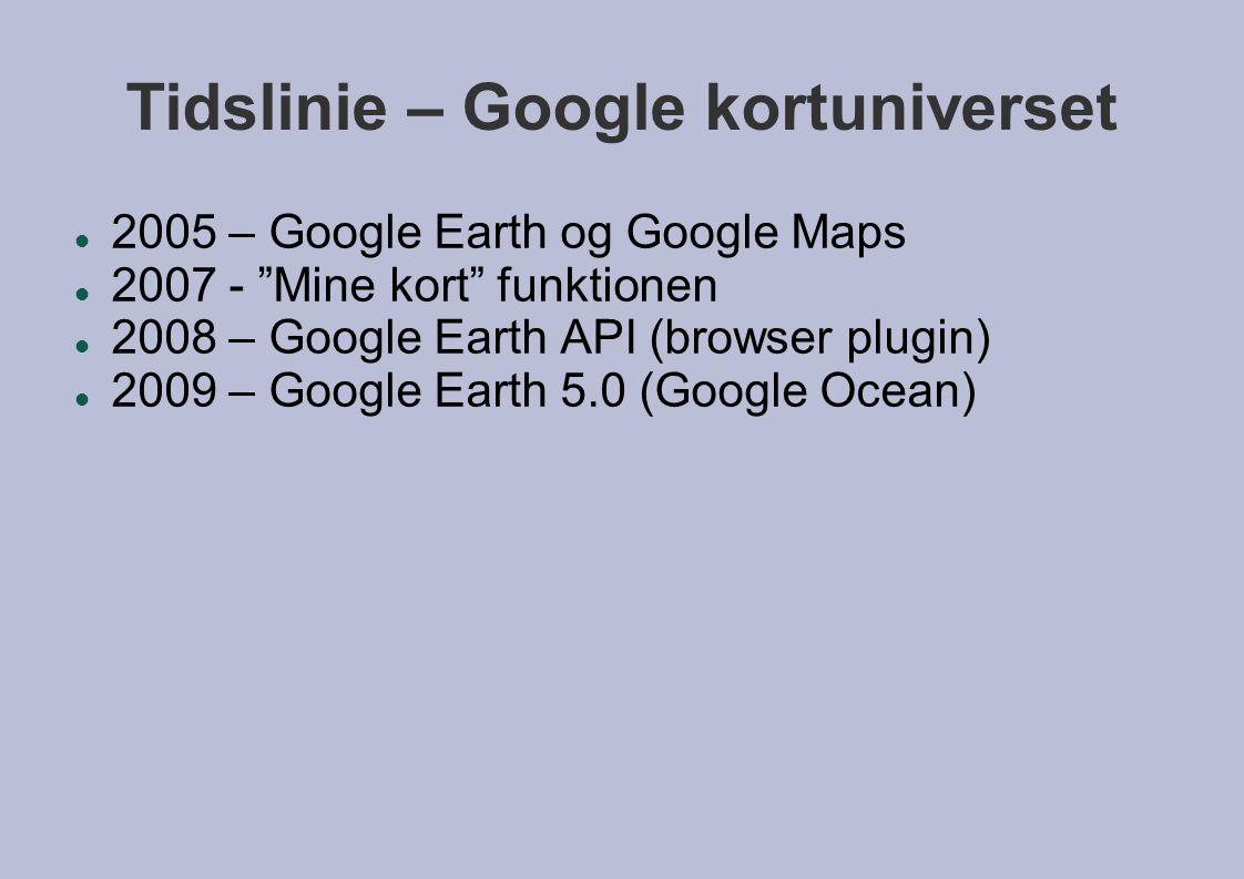 Tidslinie – Google kortuniverset  2005 – Google Earth og Google Maps  2007 - Mine kort funktionen  2008 – Google Earth API (browser plugin)  2009 – Google Earth 5.0 (Google Ocean)