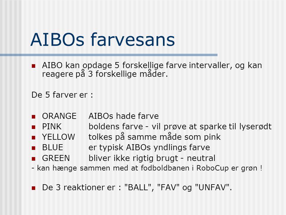 AIBOs farvesans  AIBO kan opdage 5 forskellige farve intervaller, og kan reagere på 3 forskellige måder.