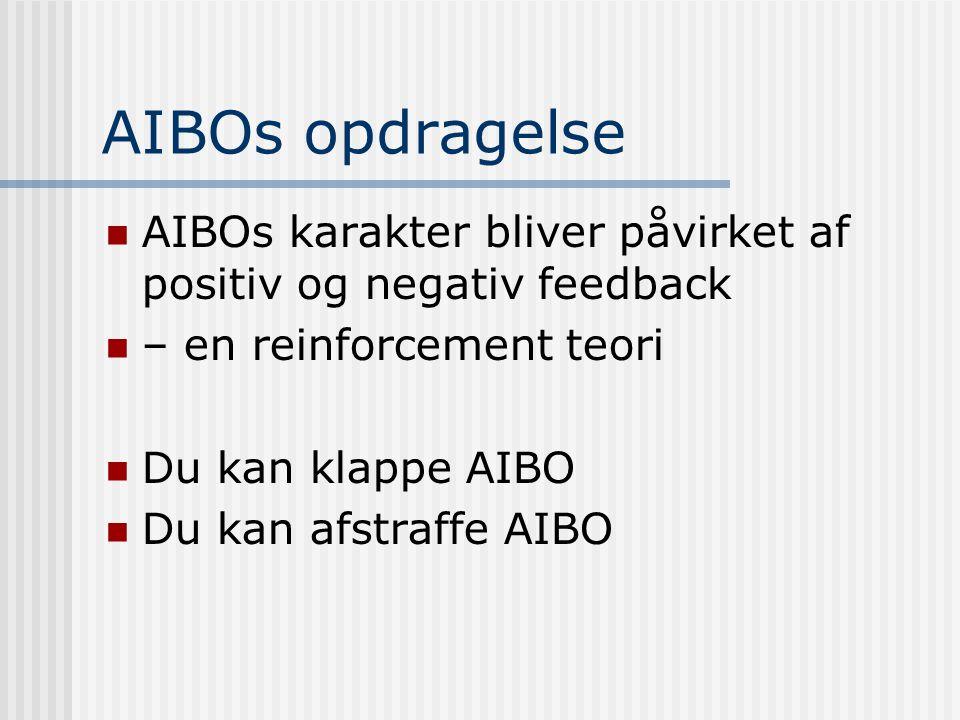 AIBOs opdragelse  AIBOs karakter bliver påvirket af positiv og negativ feedback  – en reinforcement teori  Du kan klappe AIBO  Du kan afstraffe AIBO