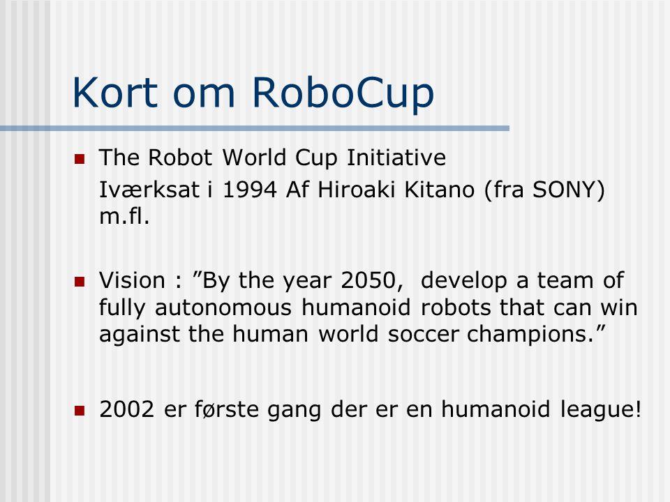 Kort om RoboCup  The Robot World Cup Initiative Iværksat i 1994 Af Hiroaki Kitano (fra SONY) m.fl.