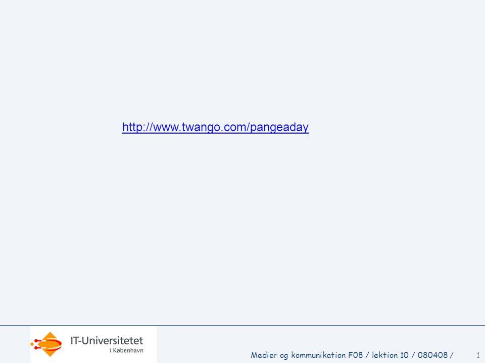 1Medier og kommunikation F08 / lektion 10 / 080408 / http://www.twango.com/pangeaday
