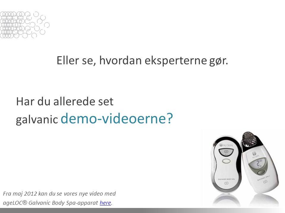 Har du allerede set galvanic demo-videoerne. Eller se, hvordan eksperterne gør.