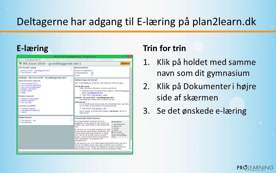 Deltagerne har adgang til E-læring på plan2learn.dk E-læringTrin for trin 1.Klik på holdet med samme navn som dit gymnasium 2.Klik på Dokumenter i højre side af skærmen 3.Se det ønskede e-læring