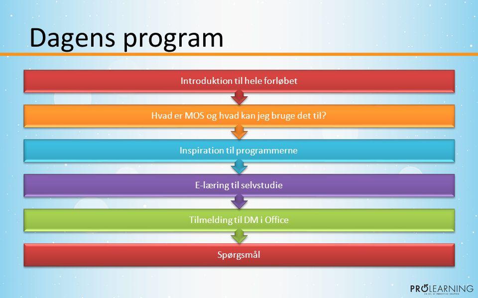 Dagens program Spørgsmål Tilmelding til DM i Office E-læring til selvstudie Inspiration til programmerne Hvad er MOS og hvad kan jeg bruge det til.