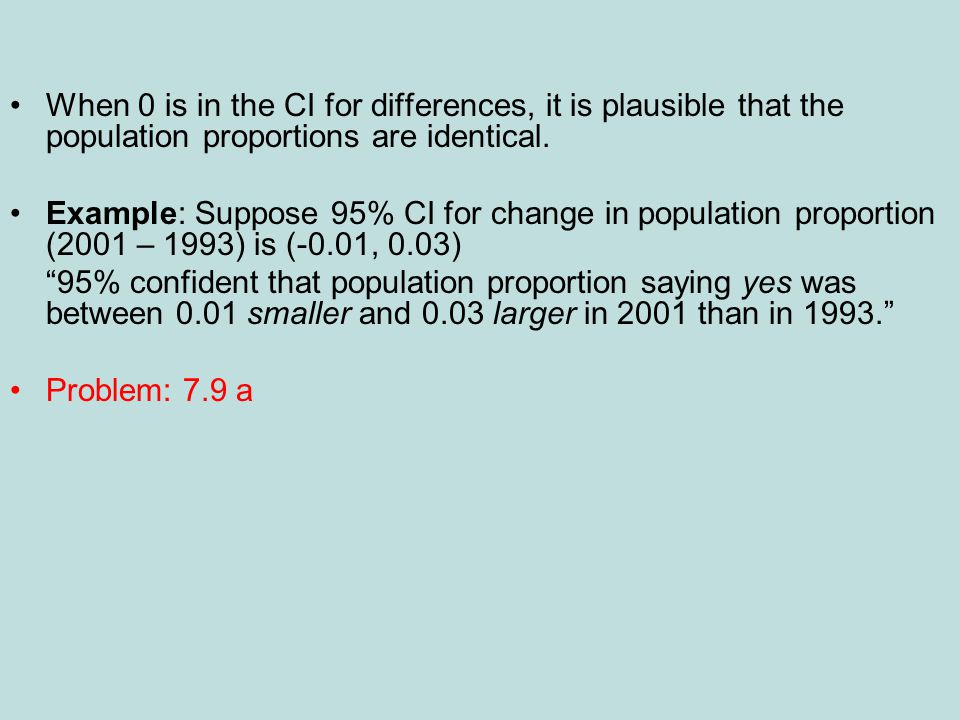 •When 0 is in the CI for differences, it is plausible that the population proportions are identical.