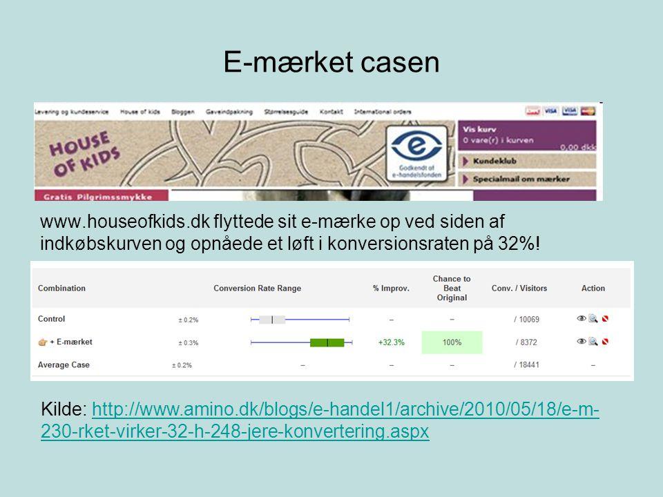 E-mærket casen www.houseofkids.dk flyttede sit e-mærke op ved siden af indkøbskurven og opnåede et løft i konversionsraten på 32%.