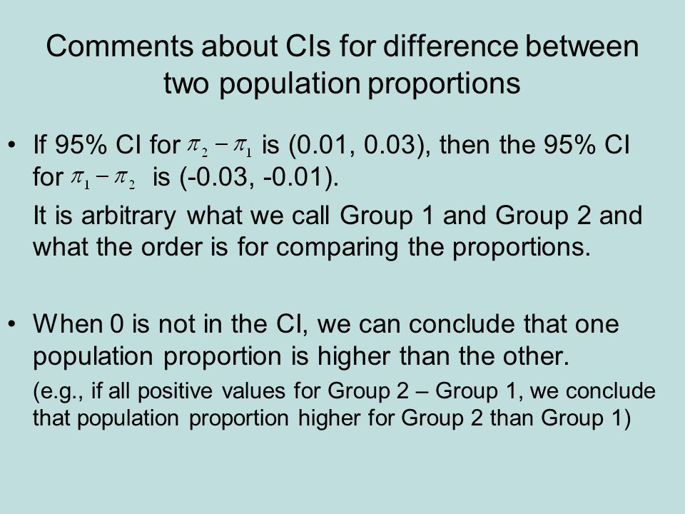 Comments about CIs for difference between two population proportions •If 95% CI for is (0.01, 0.03), then the 95% CI for is (-0.03, -0.01).