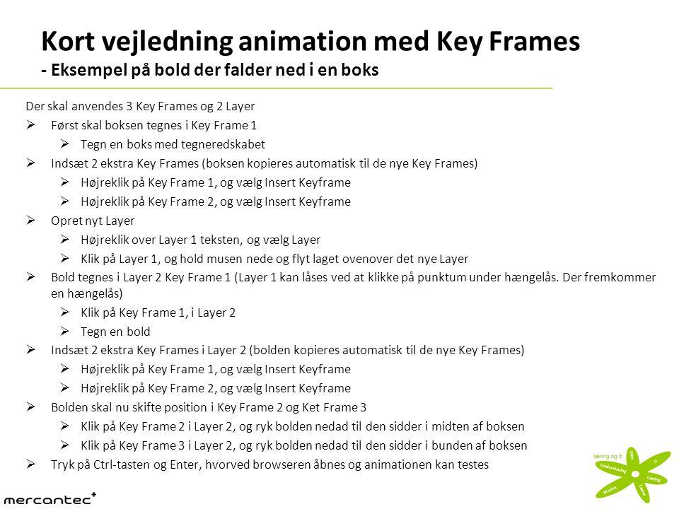 Kort vejledning animation med Key Frames - Eksempel på bold der falder ned i en boks Der skal anvendes 3 Key Frames og 2 Layer  Først skal boksen tegnes i Key Frame 1  Tegn en boks med tegneredskabet  Indsæt 2 ekstra Key Frames (boksen kopieres automatisk til de nye Key Frames)  Højreklik på Key Frame 1, og vælg Insert Keyframe  Højreklik på Key Frame 2, og vælg Insert Keyframe  Opret nyt Layer  Højreklik over Layer 1 teksten, og vælg Layer  Klik på Layer 1, og hold musen nede og flyt laget ovenover det nye Layer  Bold tegnes i Layer 2 Key Frame 1 (Layer 1 kan låses ved at klikke på punktum under hængelås.