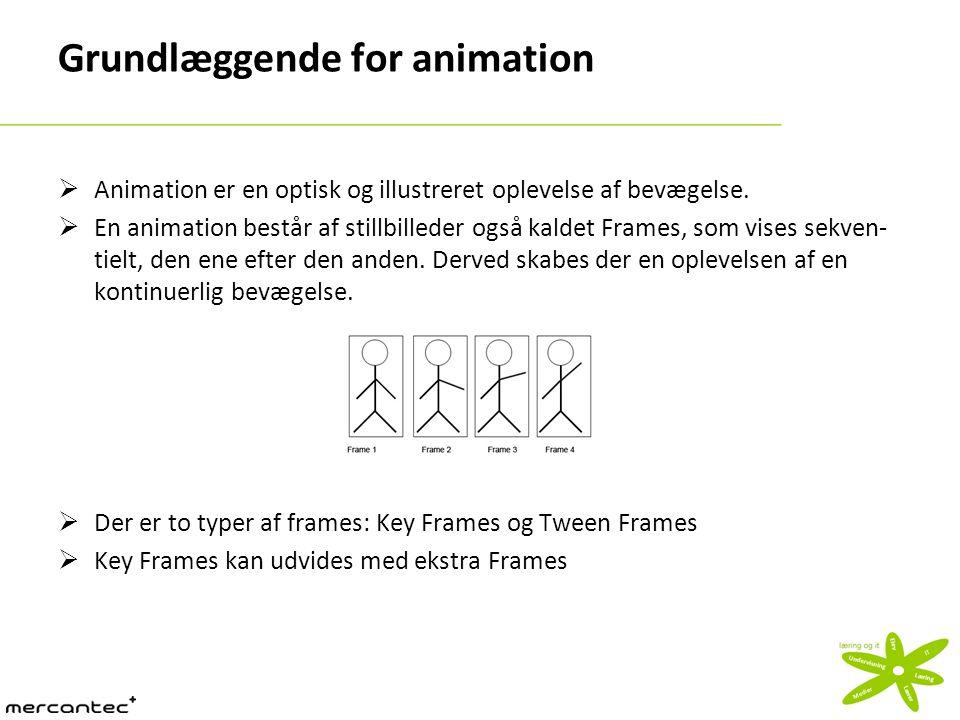 Grundlæggende for animation  Animation er en optisk og illustreret oplevelse af bevægelse.