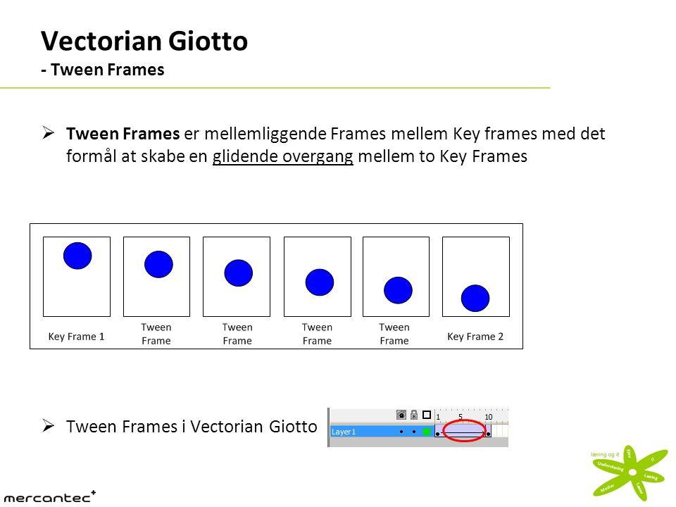 Vectorian Giotto - Tween Frames  Tween Frames er mellemliggende Frames mellem Key frames med det formål at skabe en glidende overgang mellem to Key Frames  Tween Frames i Vectorian Giotto