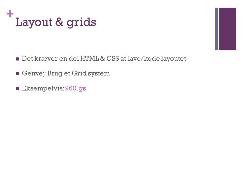+ Layout & grids  Det kræver en del HTML & CSS at lave/kode layoutet  Genvej: Brug et Grid system  Eksempelvis: 960.gs960.gs
