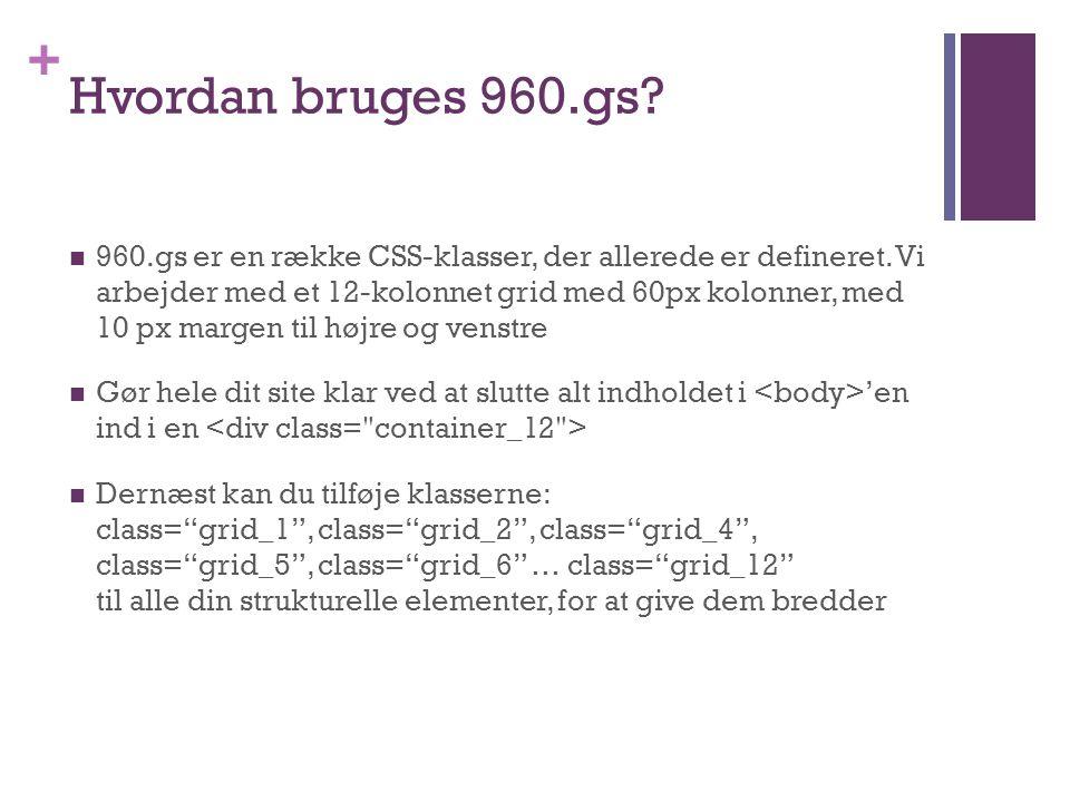 + Hvordan bruges 960.gs.  960.gs er en række CSS-klasser, der allerede er defineret.