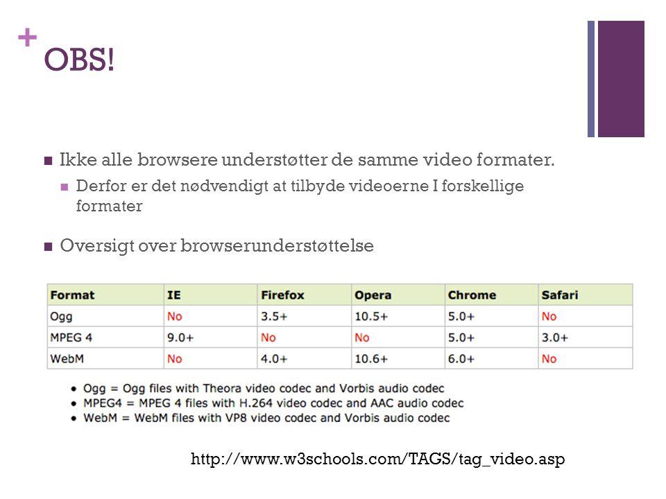 + OBS.  Ikke alle browsere understøtter de samme video formater.