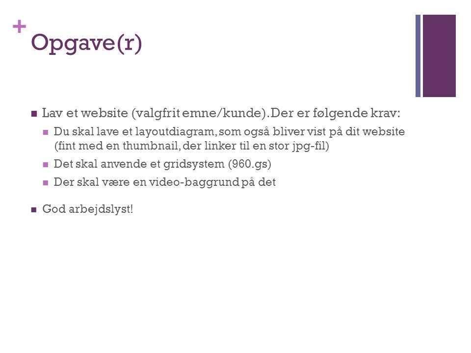 +  Lav et website (valgfrit emne/kunde).