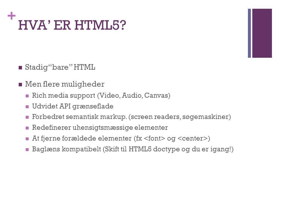 + HVA' ER HTML5.
