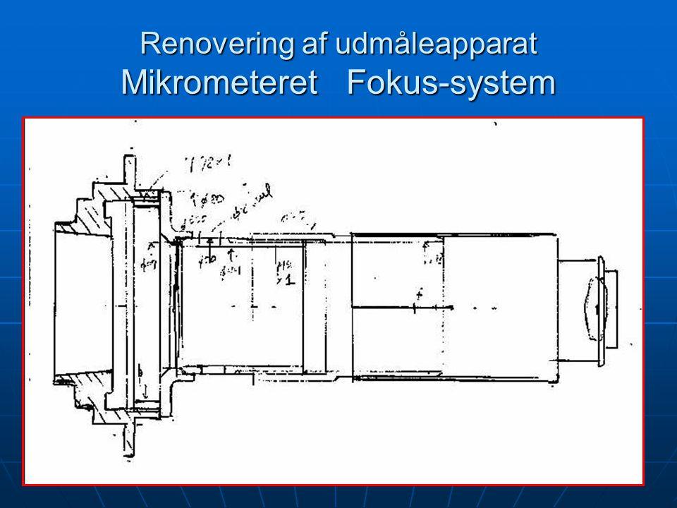 Renovering af udmåleapparat Mikrometeret Fokus-system